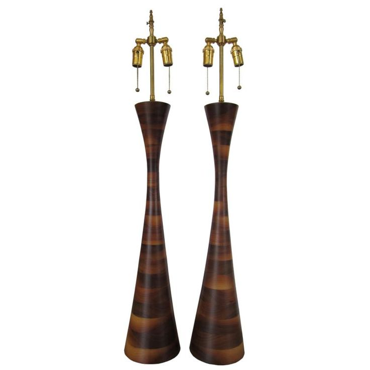 pair of mid century modern wood lamps furniture and lighting pint