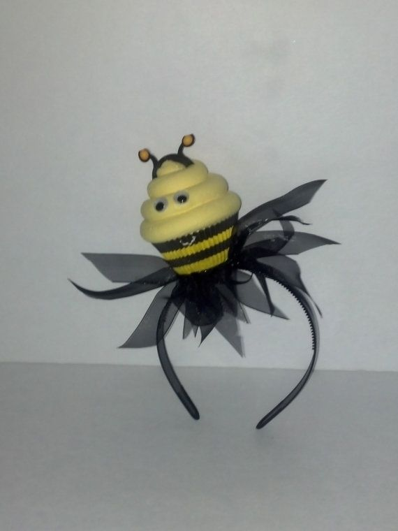 Bumble bee fake cupcake headband photo prop halloween bee for Artificial bees for decoration