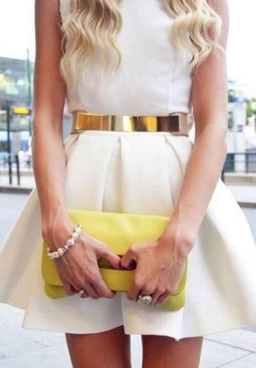 white skater dress with a gold chain i m a fashionista