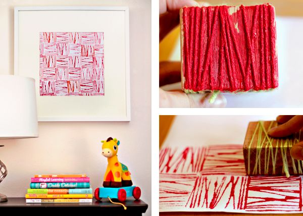 yarn block printing tutorial for you and/or the kids