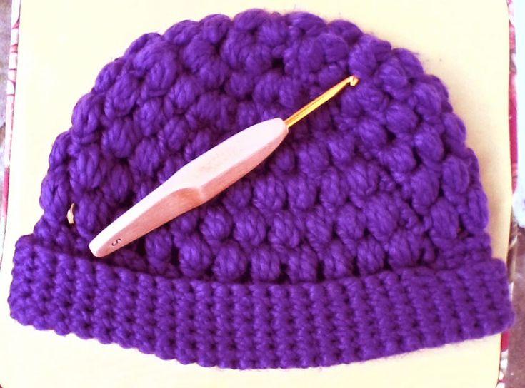 gorro tejido a crochet, con punto piña | Mis manualidades | Pinterest