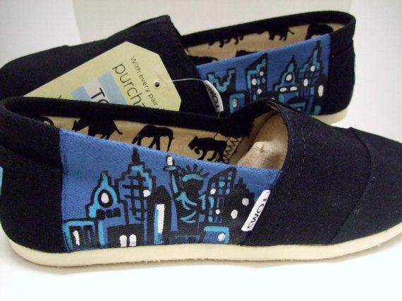 New York Custom painted TOMS Shoes NYC by BriteEyedBushyTailed, $90.00