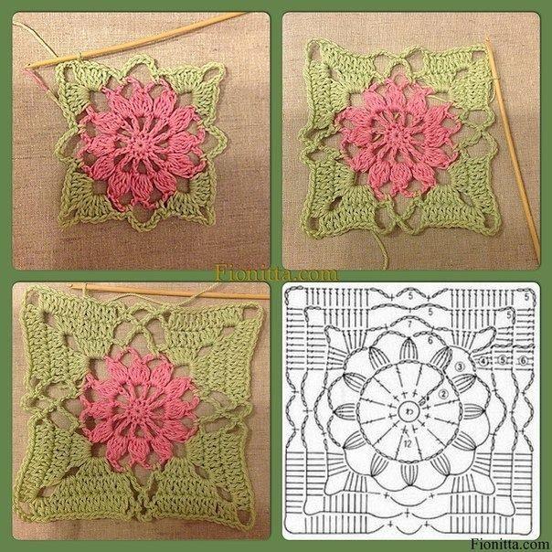 Crochet Flower In Square Pattern Legitefo For