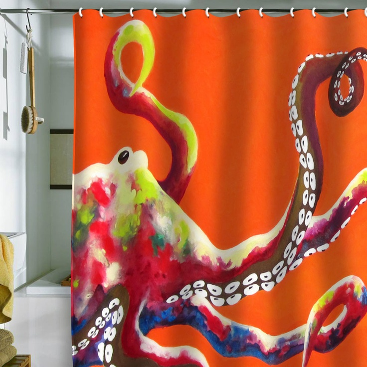 Clara nilles jeweled octopus on tangerine shower curtain for Tangerine bathroom ideas
