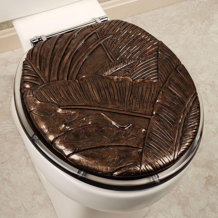 Tropical Foliage Toilet Seat Dark Brown Exotic Style