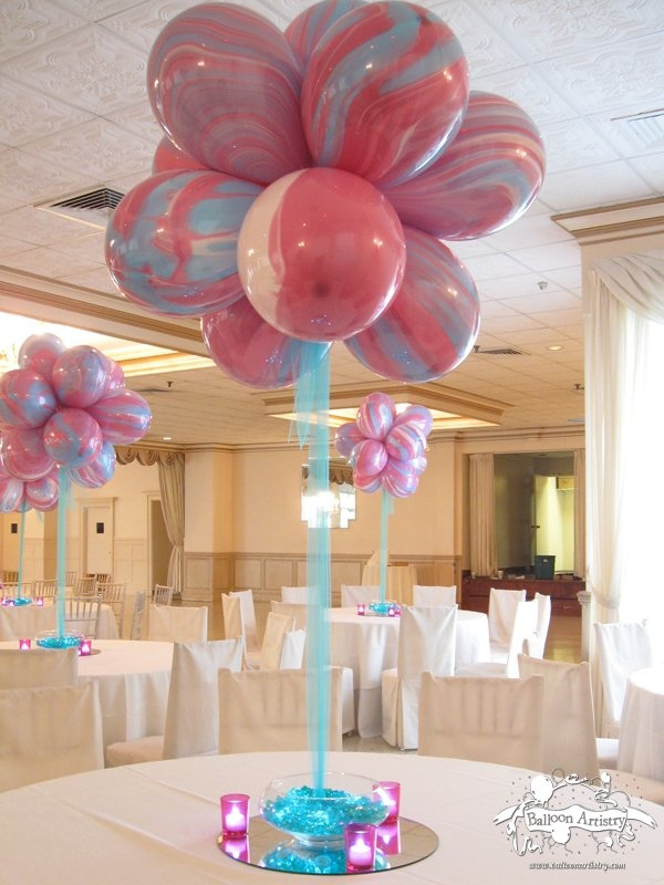 Agate balloon flower bud centerpiece cakes and party