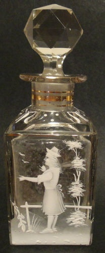 Antique Mary Gregory Enameled Clear Glass Perfume Bottle