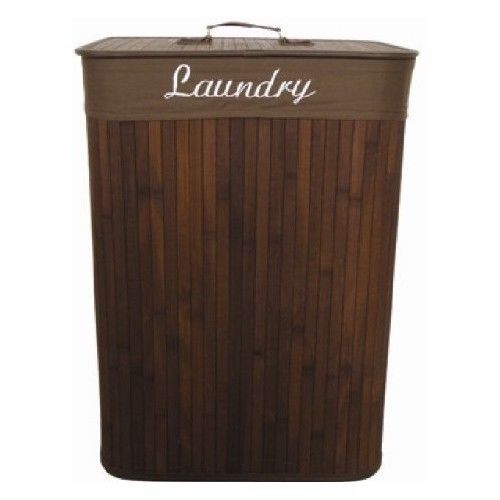 Bamboo laundry hamper clothes bedroom bed bathroom washer dryer soap - Bamboo clothes hamper ...