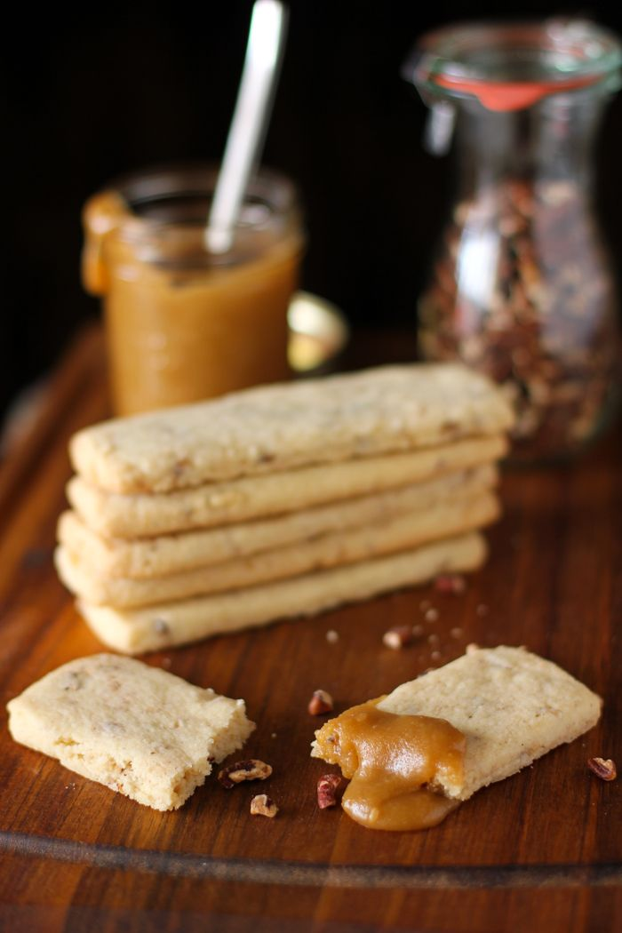 Toasted Pecan Shortbread with Spiked Toffee Sauce