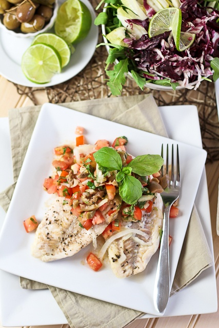 Poached Freshwater Bass with Refreshing Tomato Green Olive Salsa | Re ...