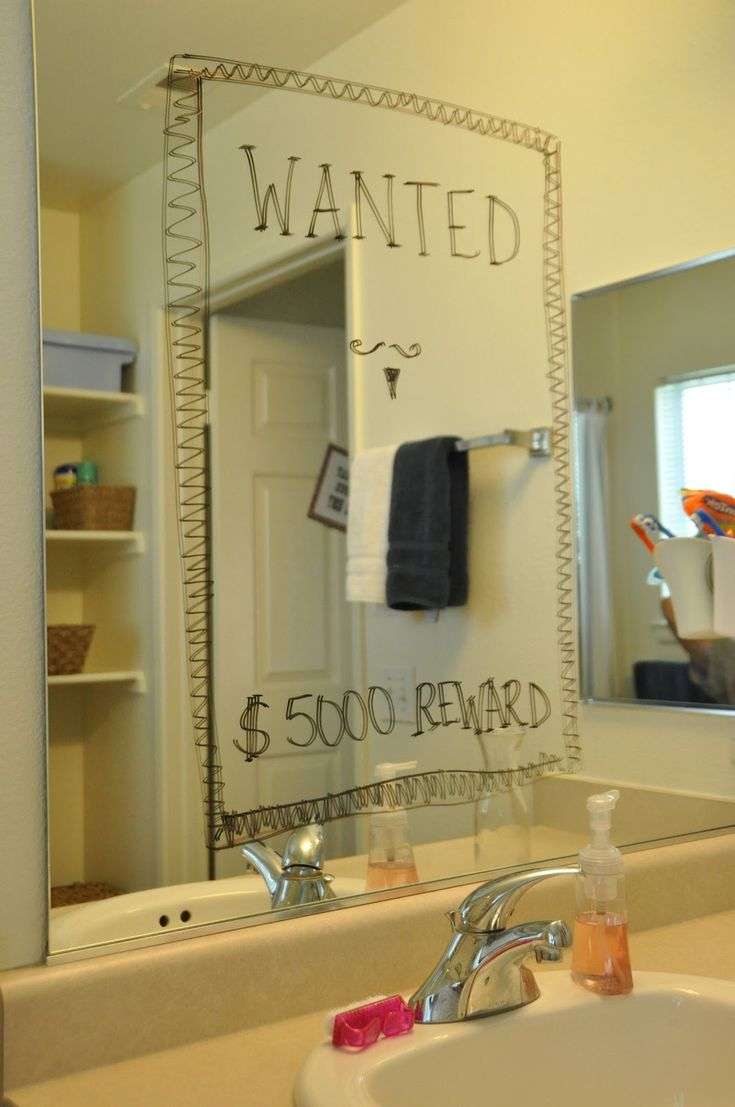 western cowboy theme baby shower bathroom mirror wanted poster