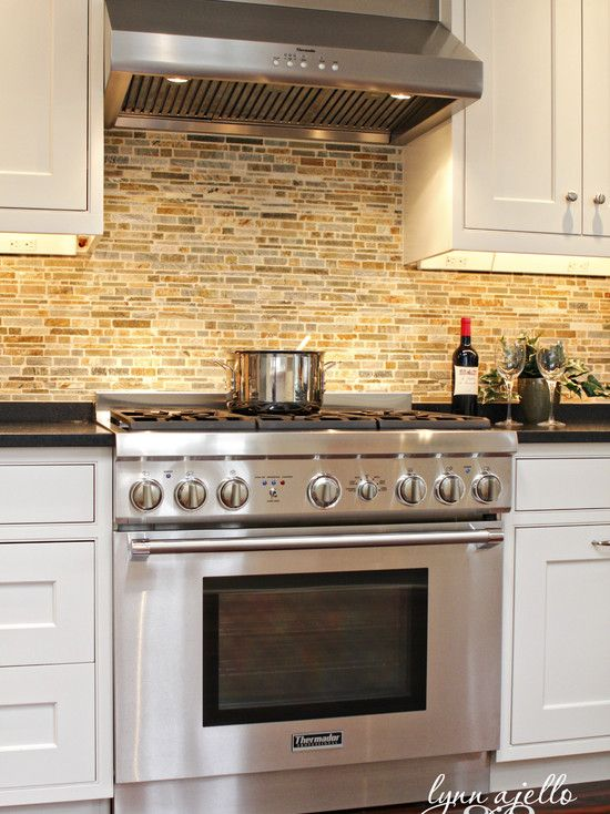 Brick backsplash love this look for the home pinterest Kitchen backsplash ideas bhg
