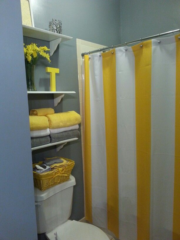 Finally finished my gray yellow bathroom pinterest inspired pinterest - Bathroom yellow and gray ...