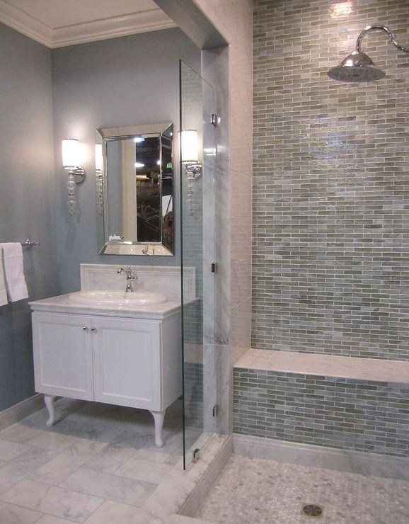 Blue gray master bath salle de bain pinterest for Master bathroom grey tile