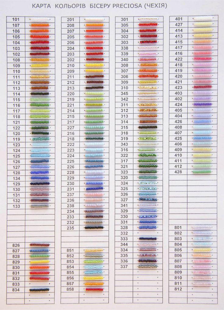 Таблица с цветами бисера
