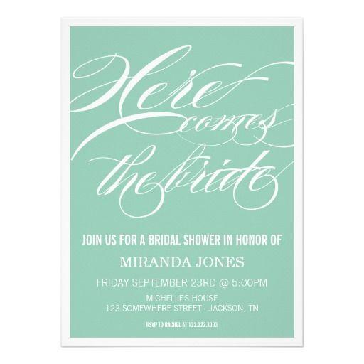 Classy Mint Bridal Shower Invitations #wedding #savethedate