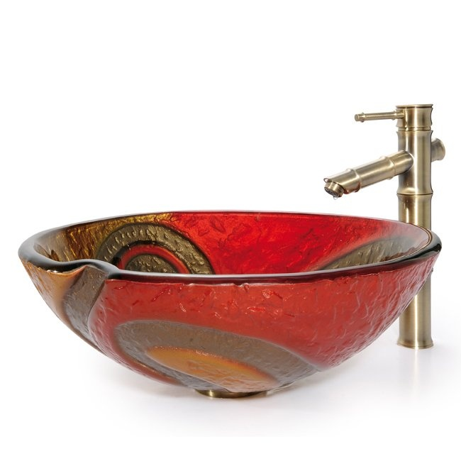 Copper Vessel Sink And Faucet Combo : ... GV-620-17mm-1300 Copper Snake Vessel Bamboo Faucet Combo Glass Sink