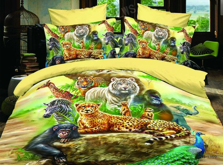 Gallery of wild animals 4pc bed set for Wild bedding