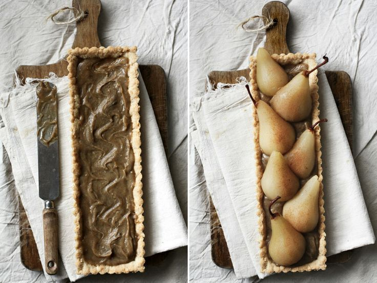 Riesling Poached Pear Tart with Chai Spiced Custard & AlmondCrust - Roost - Roost: A Simple Life