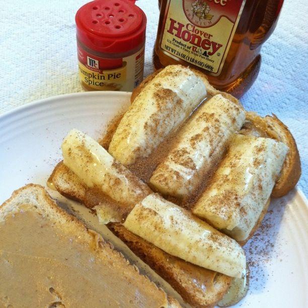 peanut butter, banana, honey, and pumpkin pie spice sandwich