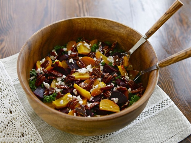Kale and Roasted Beet Salad with Maple Balsamic Dressing | The Shiksa ...