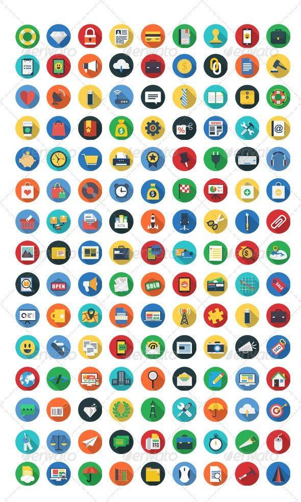200 Flat Icons: pinterest.com/pin/304485624780369983