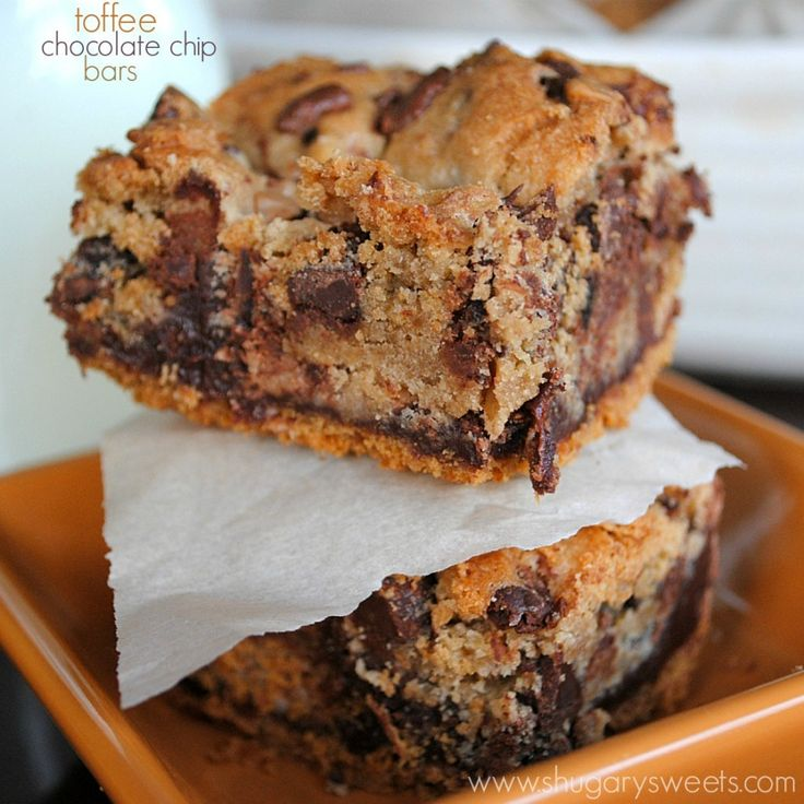 Chocolate Chip Cookie Bars with a graham cracker crust and a layer of toffee fudge!
