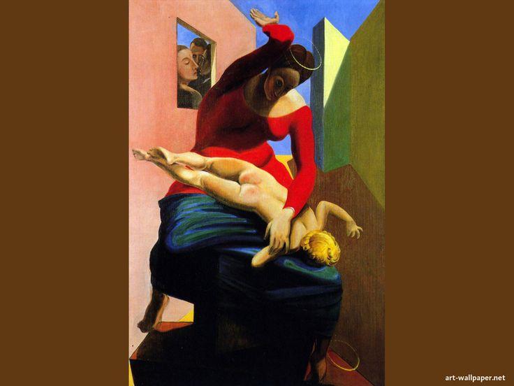 Max ERNST - La Vierge donnant une fessée à l'Enfant Jésus. Max Ernst a peint cette « provocation » et les deux personnages qu'il représente avec lui derrière la petite fenêtre à gauche sont ses amis André Breton et Paul Éluard.