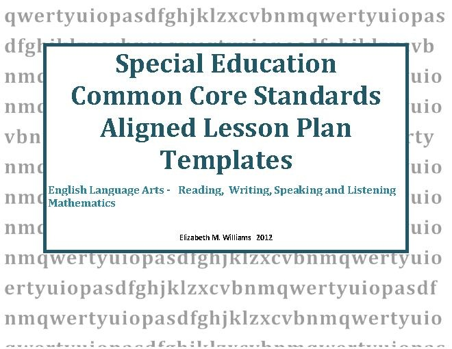 Specially Designed Instruction Lesson Plans
