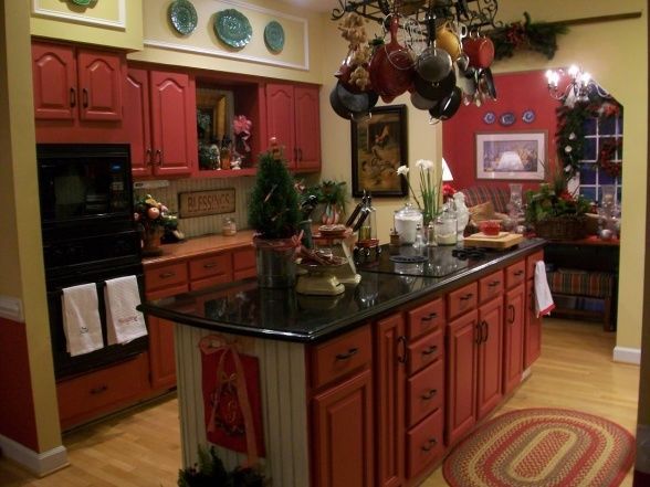 Red Painted Cabinets Kitchen Design Pinterest