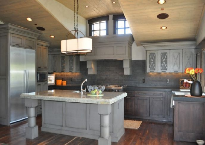 Staining kitchen cabinets grey new house pinterest for Staining kitchen cabinets