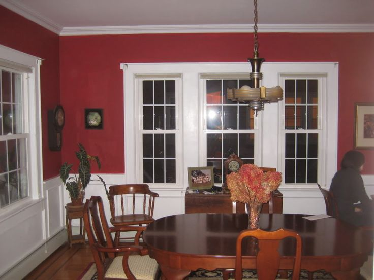 Pin by carrie poersch on stuff pinterest for Red wall dining room ideas