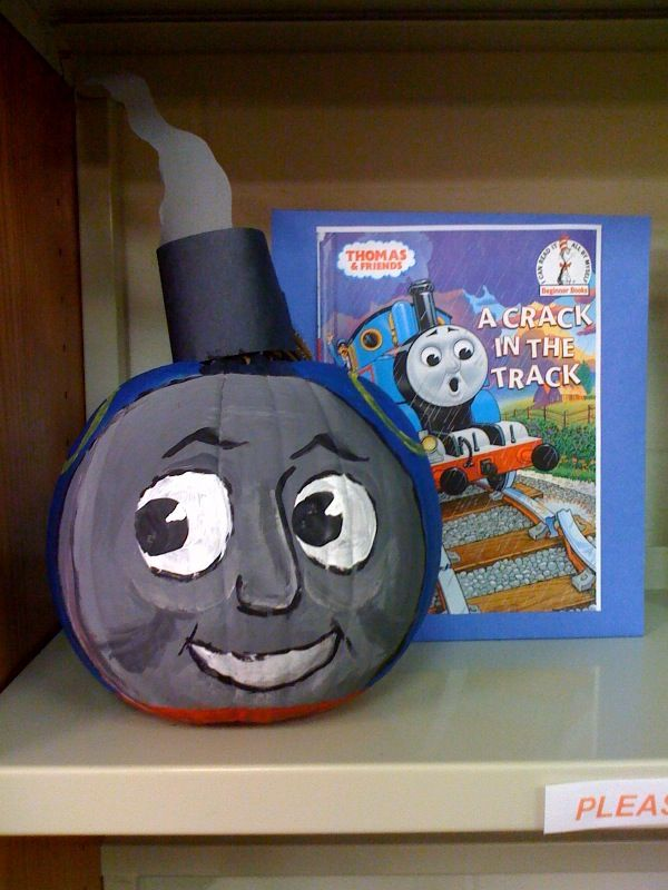 Thomas the Tank Engine - Book Character Pumpkin  (Pumpkin Painting 2009)