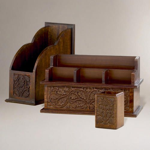 Carved wood desk organizers storage organization - Wooden desk organizer with drawers ...