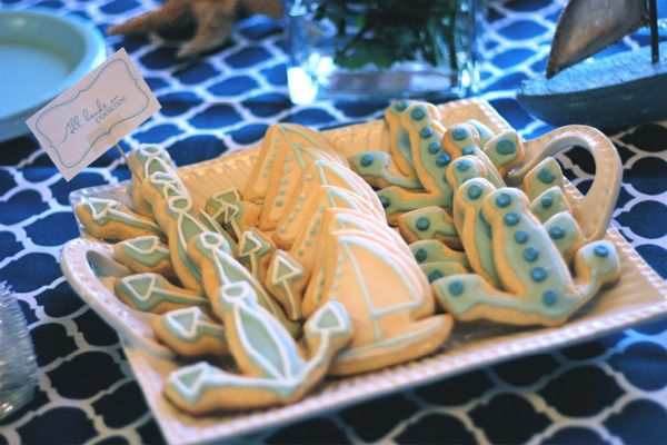 ships ahoy baby shower: anchor and sailboat cookies