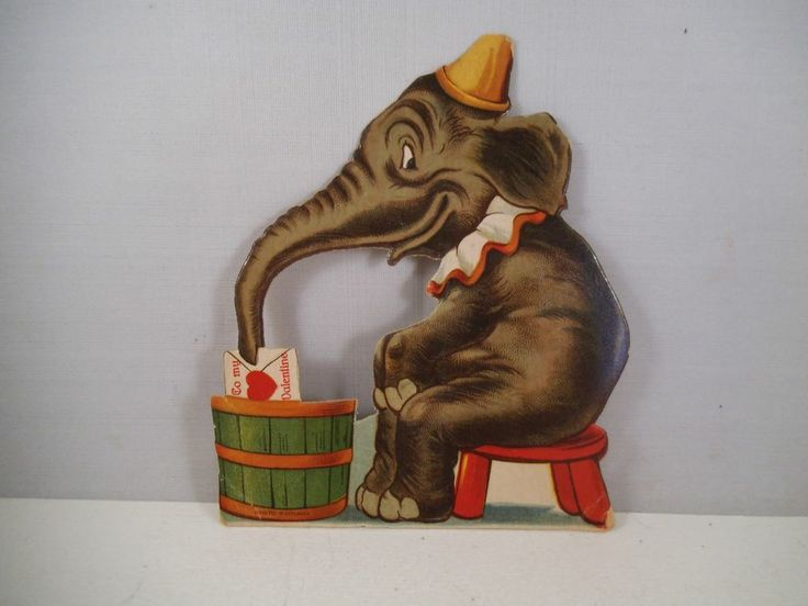 vintage valentine card valentine 39 s day germany circus elephant stand. Black Bedroom Furniture Sets. Home Design Ideas