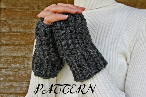 Knitting Pattern Easy Fingerless Gloves : diy PDF PATTERN - Fingerless Gloves Knitting Pattern ...