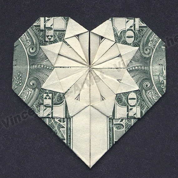 dollar bill origami heart made from real by