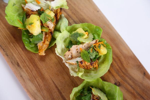 """Chicken lettuce cups with pineapple salad as seen on """"The Chew"""". Cu..."""