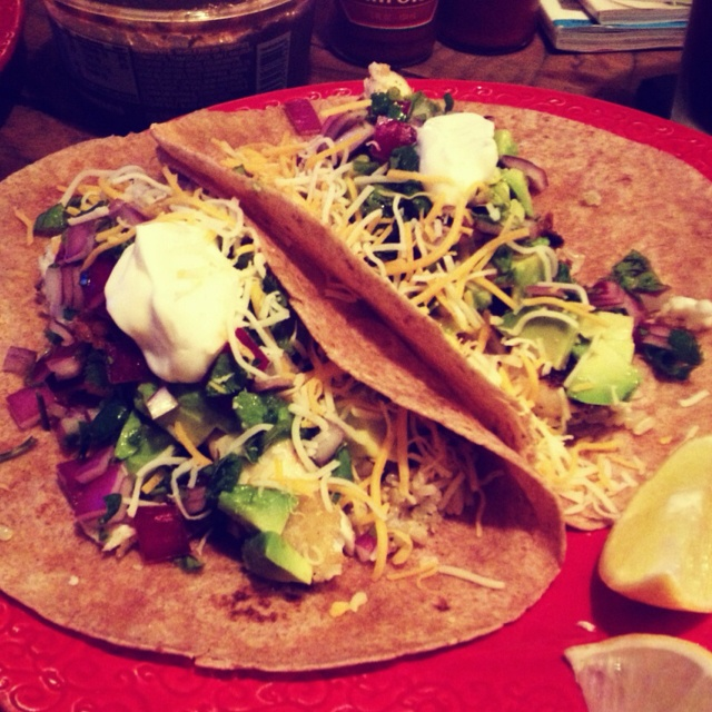 Honey lime tilapia tacos with avocado, cilantro, lime, cheese, sour ...