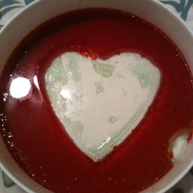 Double layer (green and red) heart shaped jello.
