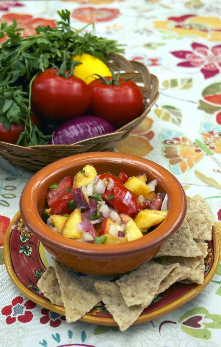 Summer Peach Salsa... a combination of peaches, tomatoes, peppers and ...