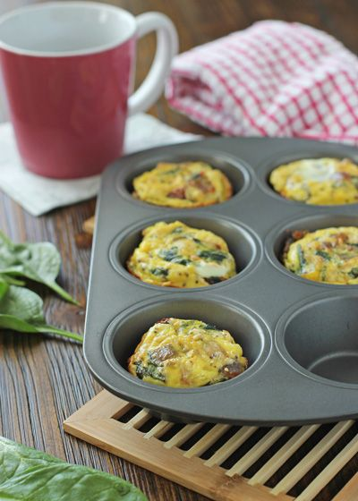 Spinach and Sun-Dried Tomato Frittata Muffins - Cookie Monster Cooking