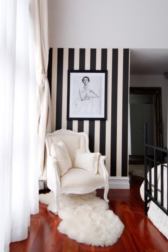 black and white striped accent wall for the home pinterest. Black Bedroom Furniture Sets. Home Design Ideas