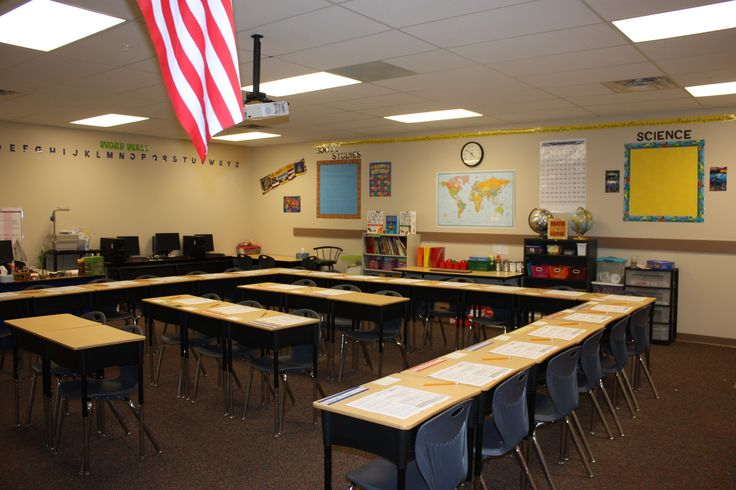 4th grade set up desks are facing the smart board at the front of the