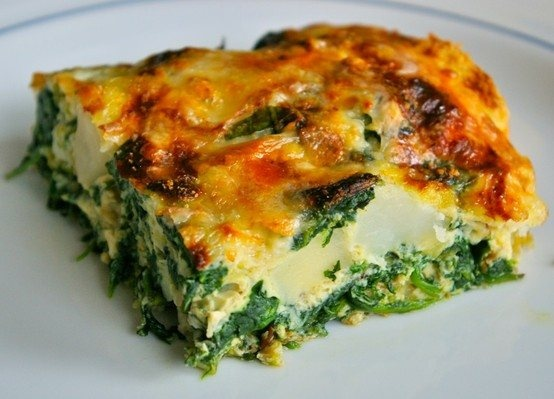 spinach, potato and leek frittata | food! | Pinterest