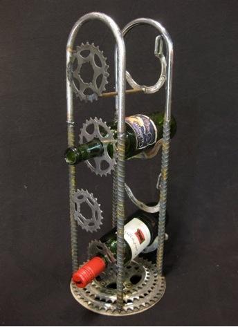 Steampunk/gearhead wine display.