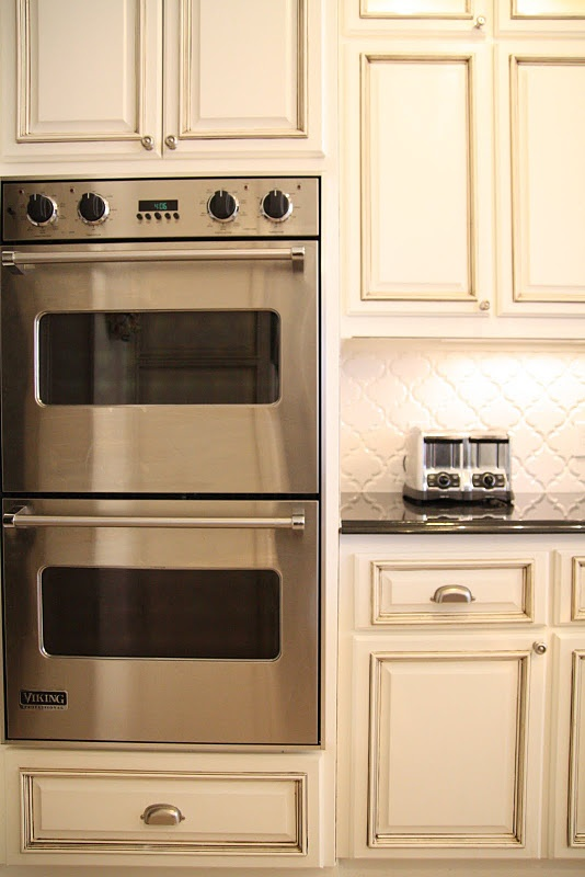 Double ovens cabinet color for the home pinterest for Double kitchen cabinets