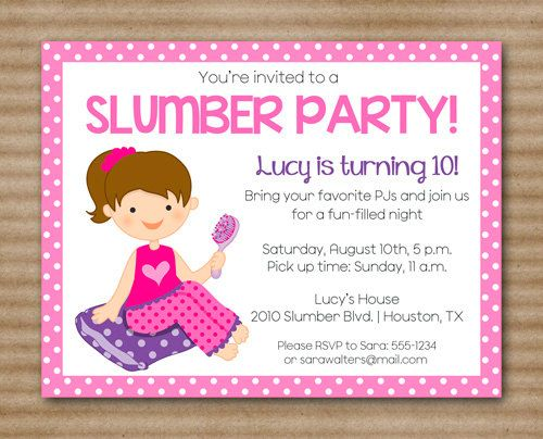 Slumber Party Invitation for great invitation template