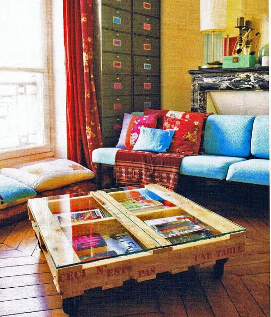 Glass Top Pallet Coffee Table Diy Home Pinterest